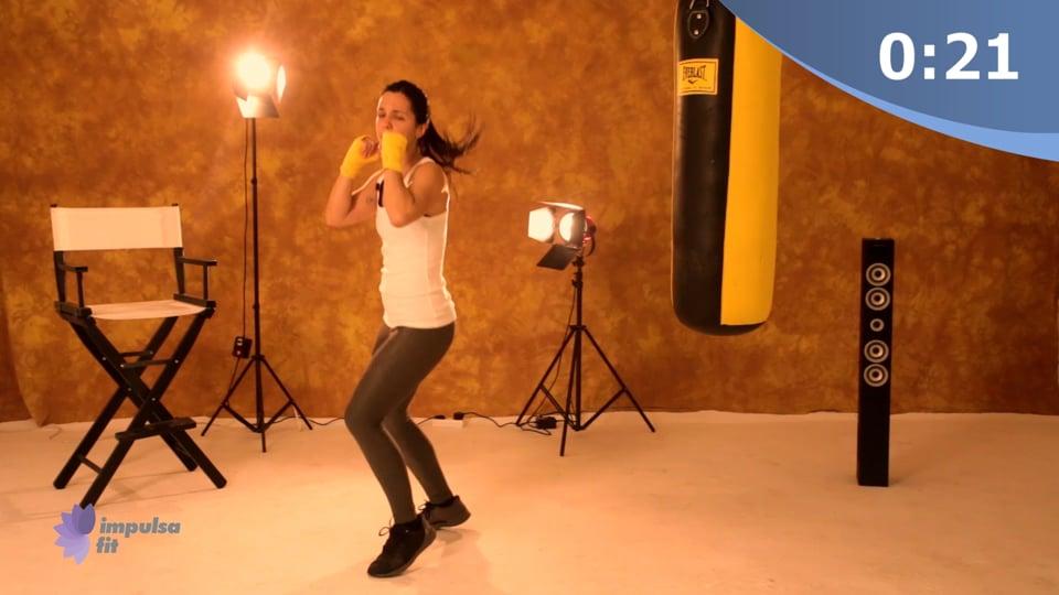 Vídeo 2: Entrenamiento Cardio Box en rutina técnica de defensa con la guardia y ejercicios de piernas