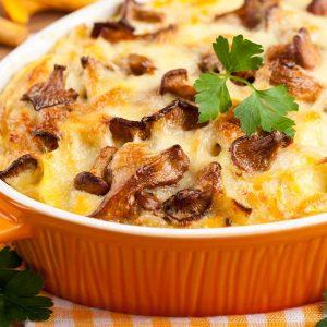 Pastel de patatas con champiñones